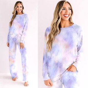 HP!🎉 Blue & Pink Tie-dye Pants Loungewear Set